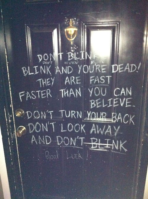 """I got to my friend's house and this was written on his door. Needless to say, I got ridiculously freaked out.""  < this guy's friend is awesome"