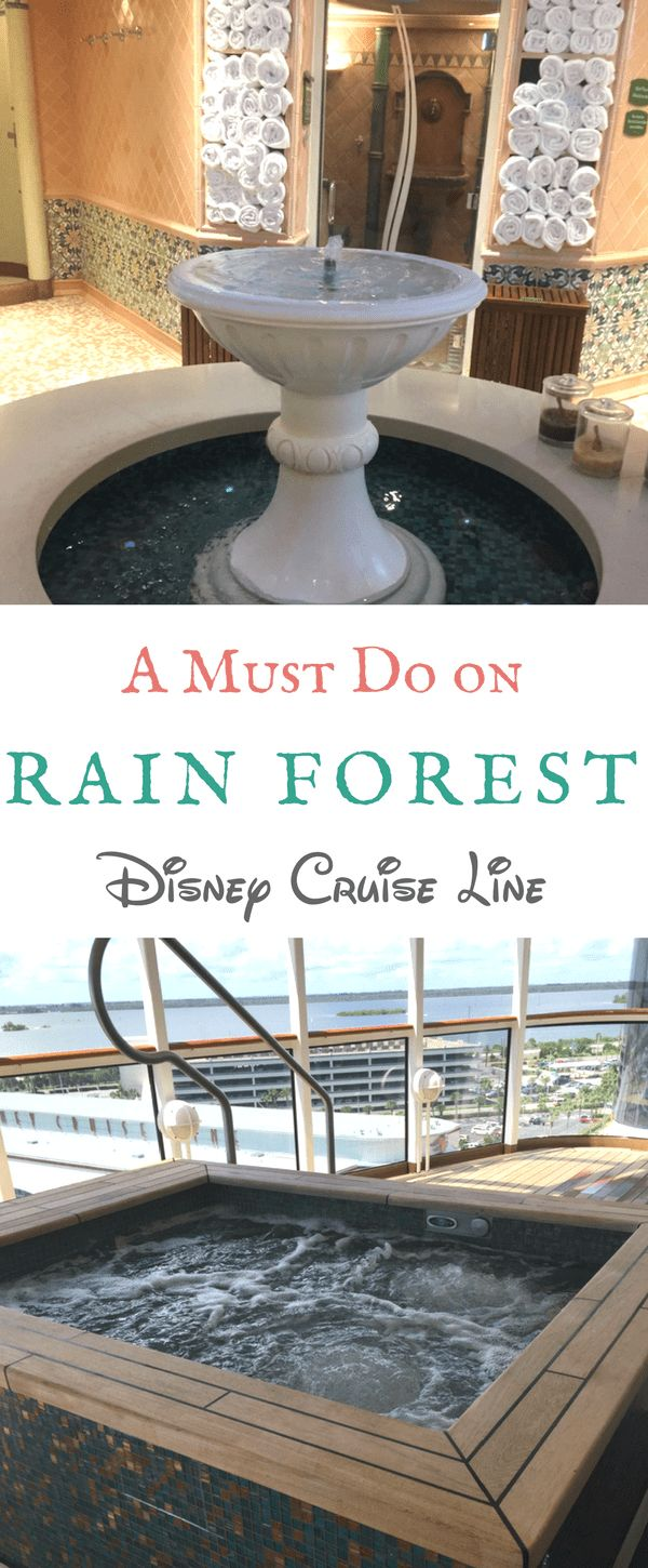 Where can you find a Rain Forest on the open sea? Disney Cruise Line! All four ships have a Rain Forest, which is a spa oasis for adults who like to be pampered. See what this exclusive area of Senses Spa has to offer: from jetted jacuzzis to stone loungers. Soak up all our tips and then soak in the relaxation on your next Disney cruise onboard the Disney Magic, Wonder, Dream or Fantasy  #disneycruise #spa #rainforest