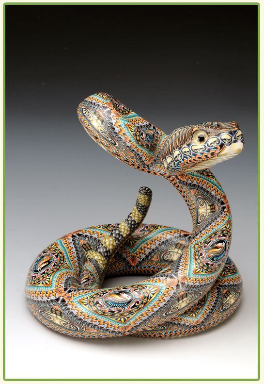 Snake in polymer clay by Jon Anderson.  Look at the skull and horse canes used in this piece.  Wow!  http://www.fimocreations.comAnderson Polymer, Rattle Snakes, Snakes Sculpture, Clay Artists, Fimo Rattle, Snakes Mama, Mama Sculpture, Polymer Clay, Jon Anderson