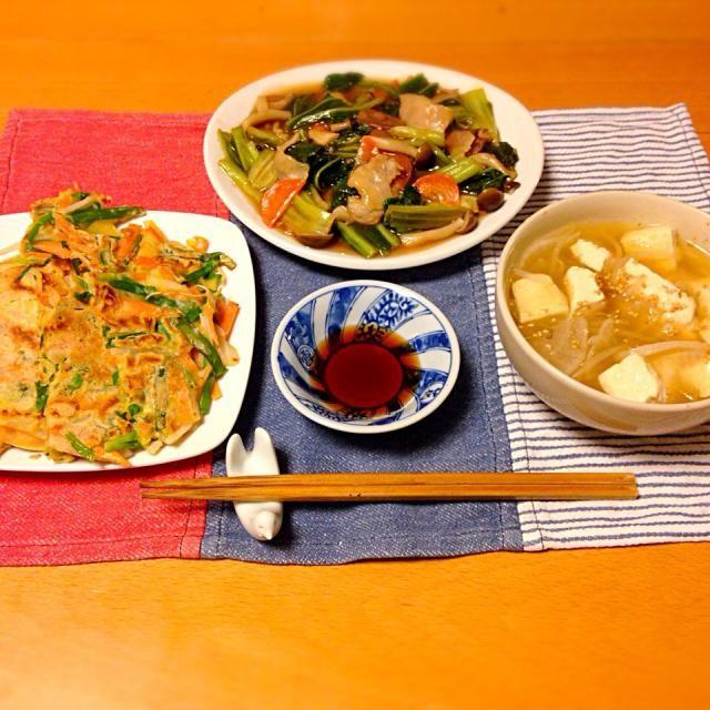 広島菜のオイスターソース炒め、にらチヂミ、豆腐の中華スープ。チヂミが多いので白米抜き。いただきます。 - 10件のもぐもぐ - 今日の晩御飯 by yujimrmt