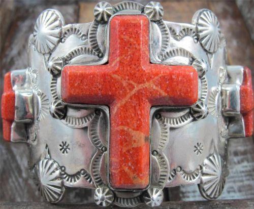 Vtg Spiny Oyster Cross Hand Stamped Navajo Sterling Cuff Bracelet David Troutman   eBay