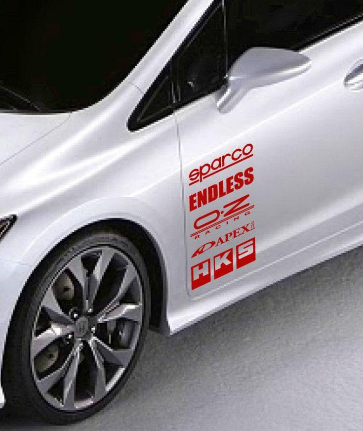 Racing Sponsors Sport Car Sticker Emblem Logo Sponsor Decal Red Pair Calcomanias