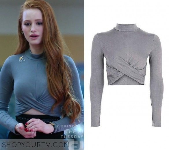 "Riverdale: Season 1 Episode 13 Cheryl's Grey Twist Front Crop Top | Shop Your TV Cheryl Blossom (Madelaine Petsch) wears this light grey long sleeved twist front crop top in this episode of Riverdale, ""The Sweet Hereafter"". It is the Topshop Long Sleeve Twist Front Crop Top"