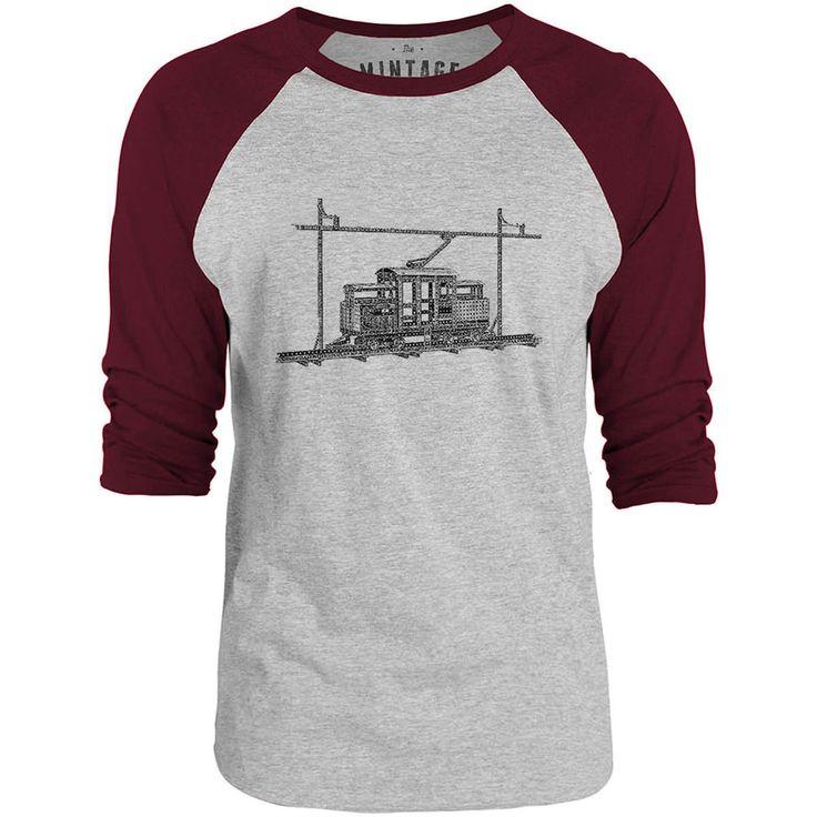 Mintage Children's Toy Tram 3/4-Sleeve Raglan Baseball T-Shirt (Grey Marle / Bordeaux)