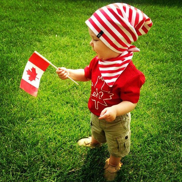 My little Canadian!  #happycanadaday#beanie#bibdana#moccasins#canada