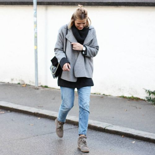 tifmys - Zara jacket, H&M knit and denim, Chloé Faye bag & Isabel Marant Bobby sneakers.