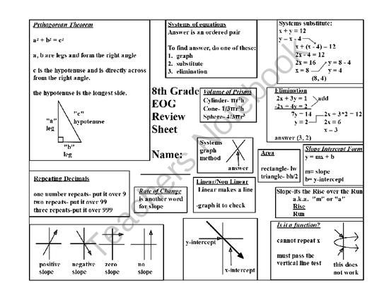 8th Grade EOG Review Sheet from DawnMBrown on TeachersNotebook.com -  (1 page)  - This is a review sheet for the 8th grade math exam