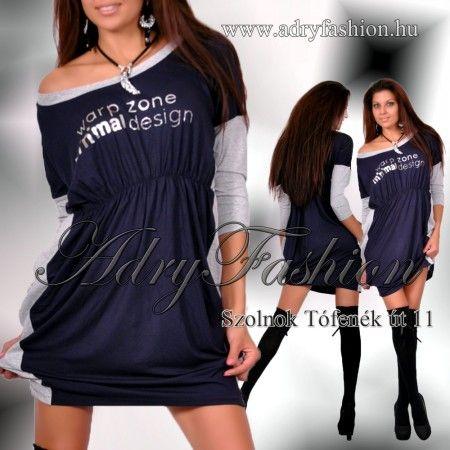 Warp Zone kék - szürke mell alatt húzott női ruha