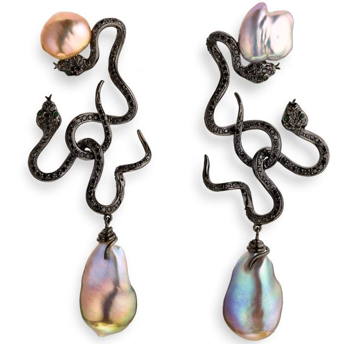 These snakes have gone over to the dark side: Lydia Courteille Kasumiga Pearl Earrings