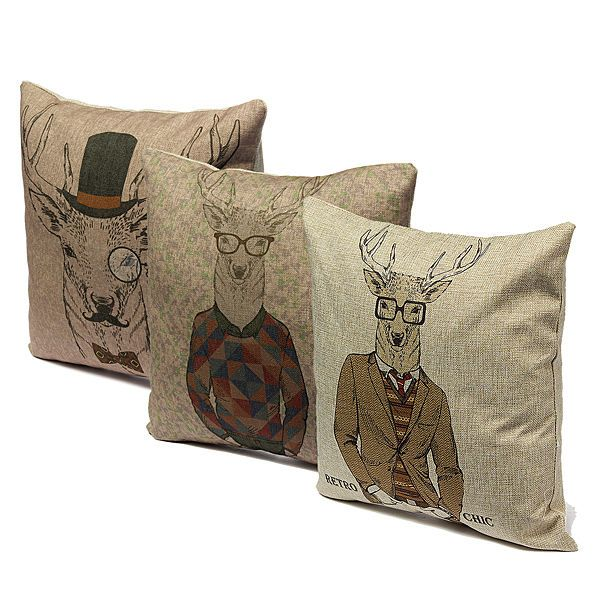 Retro Chic Fashion Deer Series Classic Pillow Case Sofa Decor Cushion Cover