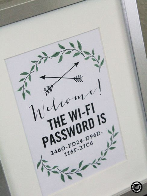 Guest WIFI password for the Guest Room! Genius Guest Room Ideas!                                                                                                                                                                                 More