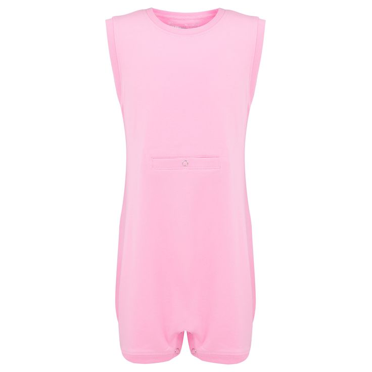 KayCey SUPER SOFT Bodysuit - Sleeveless with Tube Access - PINK | http://specialkids.company/