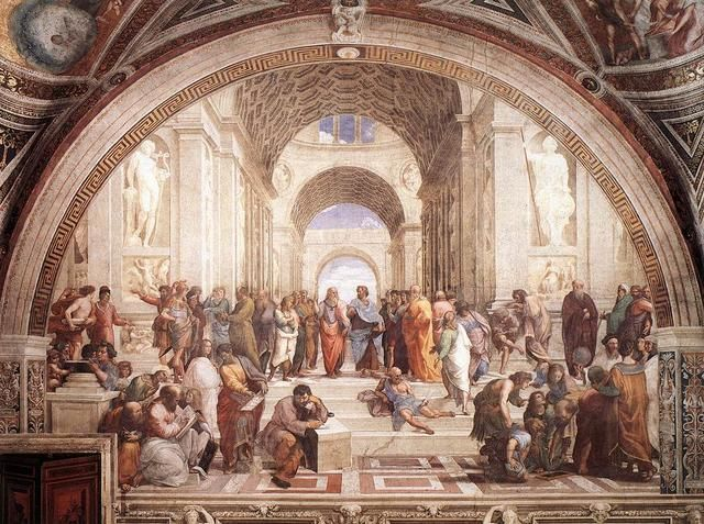 "#13 ""The School of Athens"" by Raphael shows linear perspective, so it has a vanishing point. Though there are people in the way, if you imagine parallel lines on the painting and followed them to the center of the piece, they would merge and form a vanishing point through the archway in the very center of the painting."