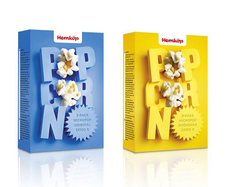 Pop Corn Pagkage for Hemkop. Brilliant 3D illustration on the box.