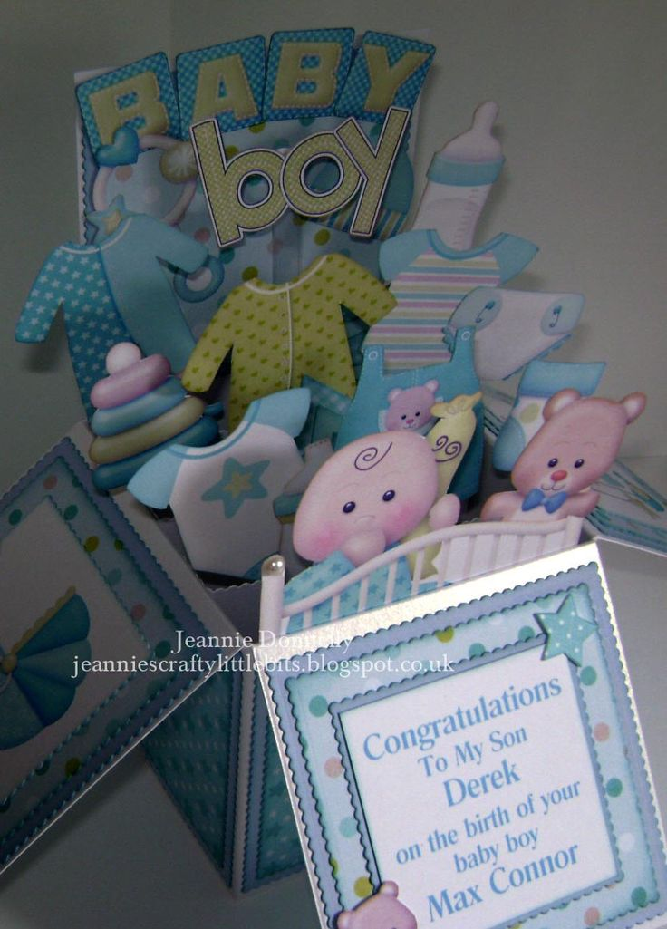 Card Making Ideas New Baby Boy Part - 49: #New Baby Boy - #Card In A Box - Using Images And Papers From