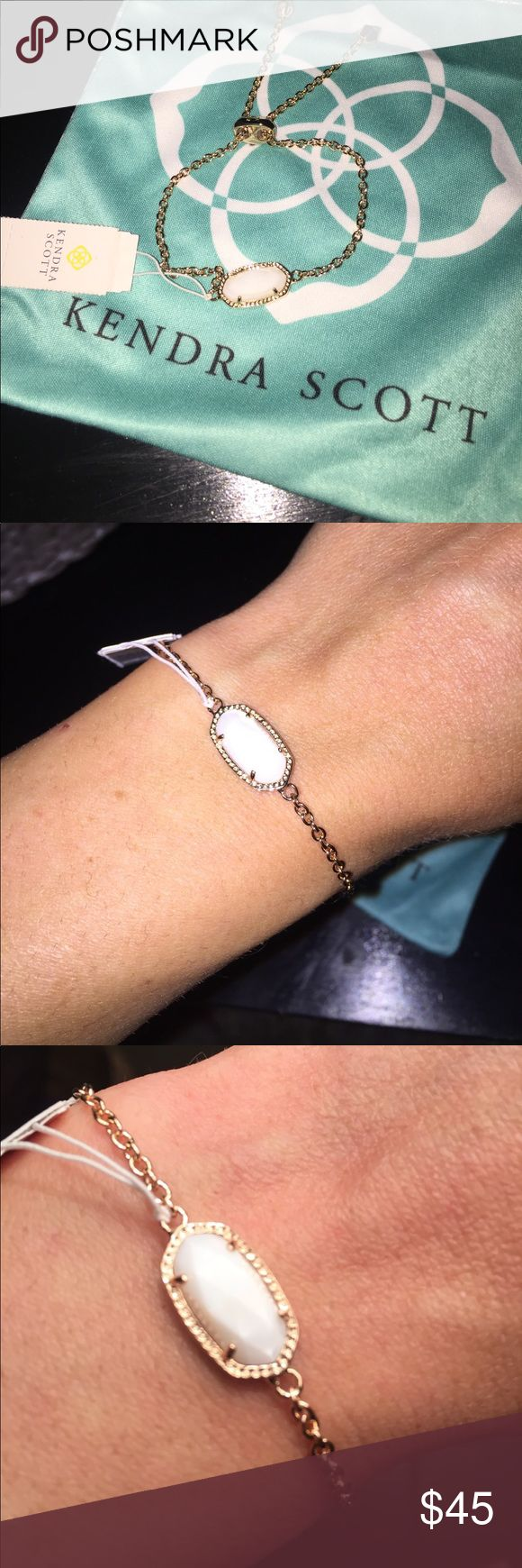 KENDRA SCOTT 💠 Elaina Bracelet white/rose gold Tags still on! Never worn but beautiful! Comes with Kendra Scott jewelry bag (has small stain) Kendra Scott Jewelry Bracelets