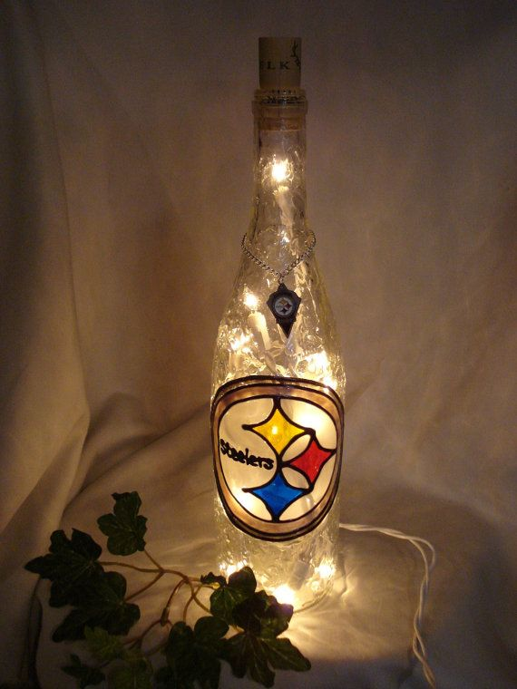 Pittsburgh Steelers Wine Bottle Lamp Hand by PaintingCreationsByD