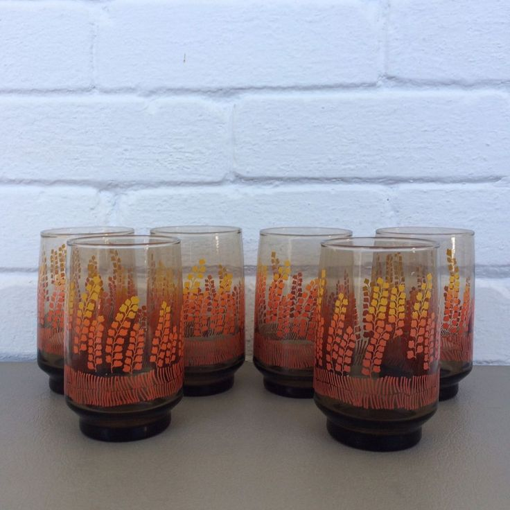 Vintage Drinking Glasses Set Of 6 Wheat Flowers Tinted Yellow Orange