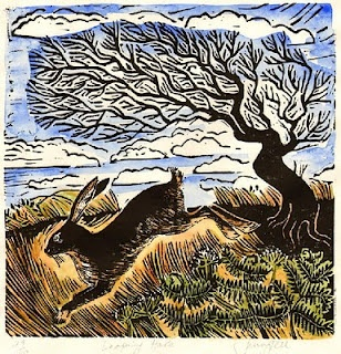 Leaping Hare: original limited edition print © Jenny Fell. Starting to show up at the base of my birdfeeders