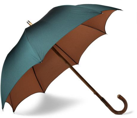 Francesco Maglia Lord Chestnut Wood Handle Umbrella in Dark Green with Brown Interior and Mother Of Pearl Button Closure. Hand Made in Italy.