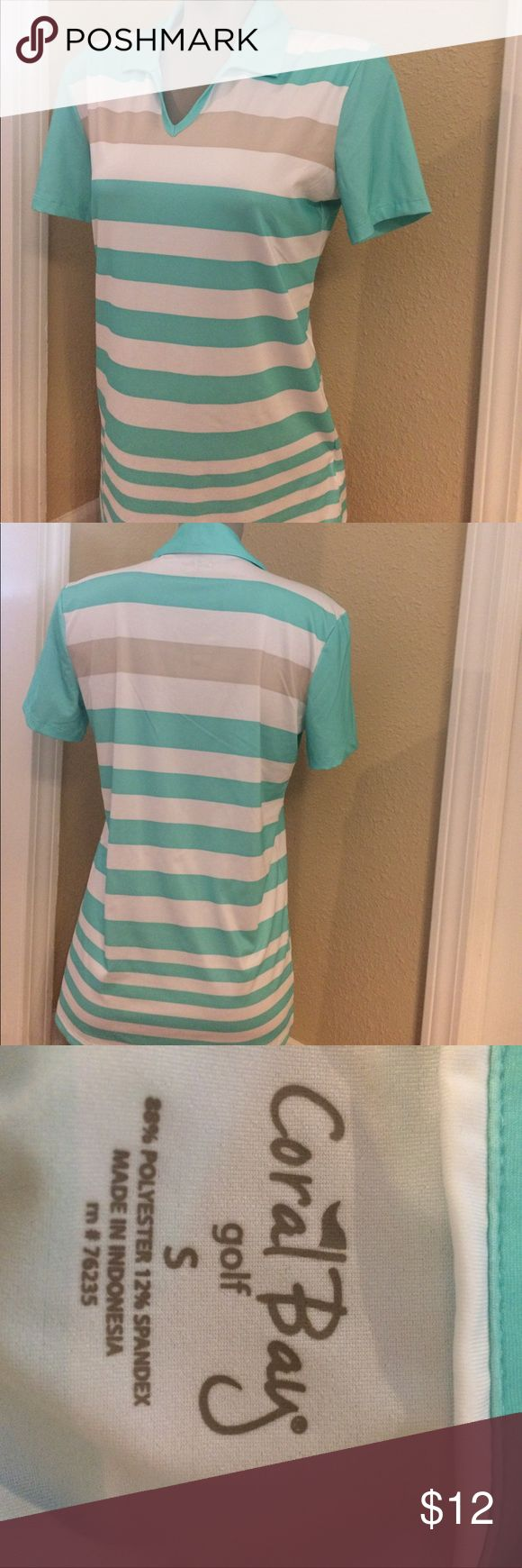 Coral Bay Women's golf shirt Womens golf V neck with collar.  Aqua, white and beige. Worn once coral bay Tops