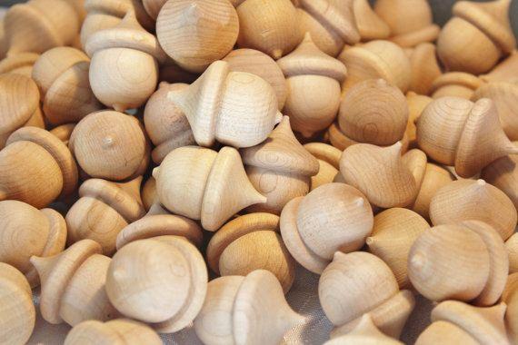 Unfinished Wooden Acorns-Wood Acorn-Acorns-Crafting