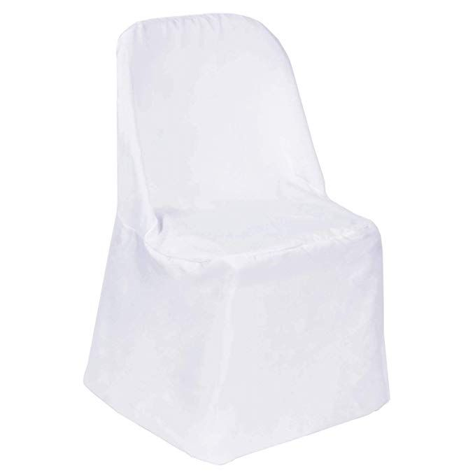 Efavormart 20 PCS White Linen Polyester Folding Chair Cover