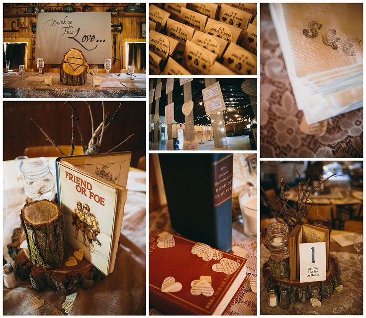 My wedding reception. Centerpieces out of tree trunks, old books, mason jars with twigs and candles. Hand stamped napkins (huge savings) and handmade head table backdrop using a projector and paint on fabric.
