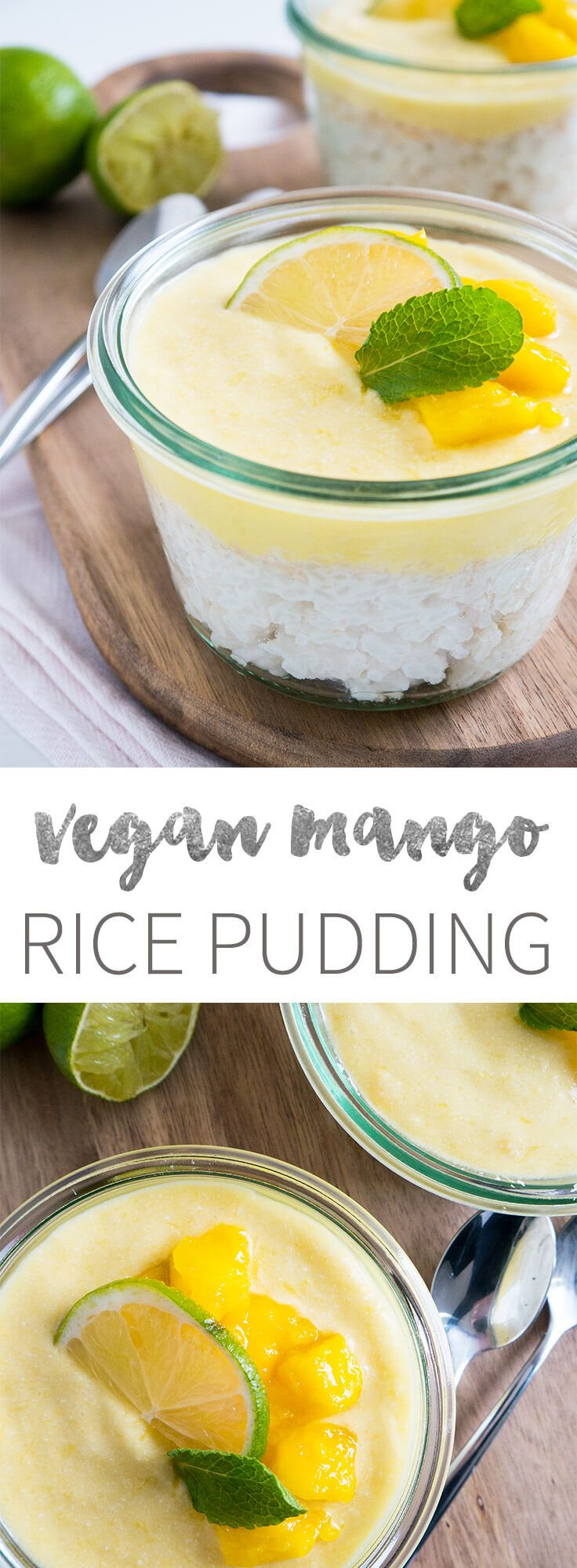 This vegan Breakfast Mango Rice Pudding with Coconut makes a perfect treat in the morning!