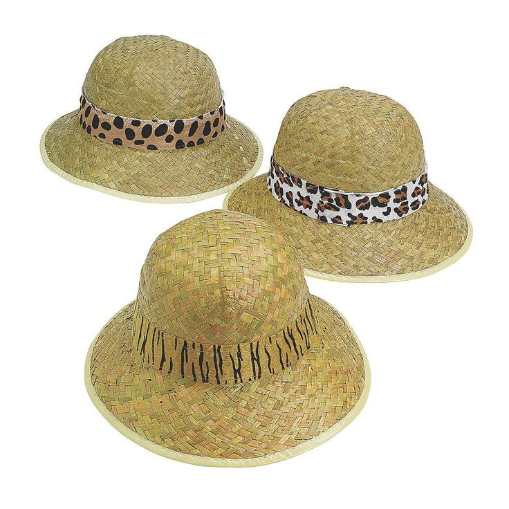 Adult's Pith Helmets with Animal Print Band - OrientalTrading.com
