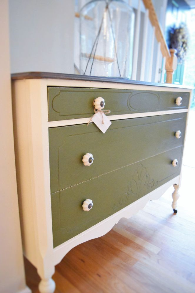 Two color dresser. Annie Sloan old white and Annie Sloan Olive. ceramic pulls, stained top.
