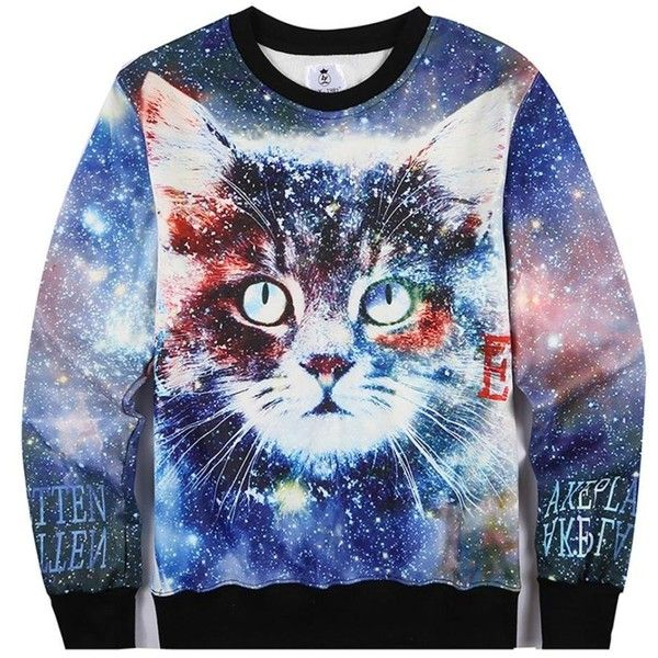 FYI Women Sweatshirts Galaxy Space Cat Funny Swag Hipster Sweater M ($34) ❤ liked on Polyvore featuring tops, hoodies, sweatshirts, hipster tops, cat print sweatshirt, blue sweatshirt, blue top and cat sweatshirt
