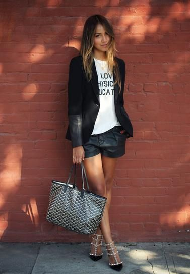 Leather shorts, Valentino Heals and a Suit Jacket... Cool Summer Look! | More outfits like this on the Stylekick app! Download at http://app.stylekick.com