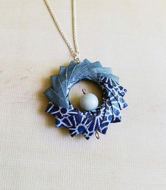 Origami Hoop Geometric Necklace Blue Kimono with Cateye Gems, Origami Jewelry…