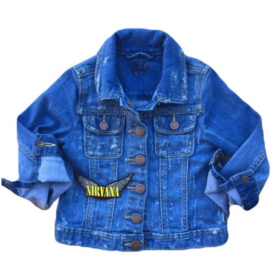 Toddler jean jacket Kids jean jacket Toddler boy clothes Toddler girl clothes Jean jacket cool kid clothes Nirvana Distressed denim Patched jean jacket  Size 4T  Iron-on patch