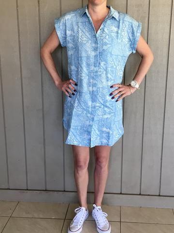 Printed Chambray Shirt Dress