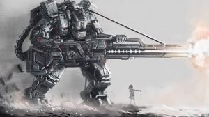 Preview wallpaper art, osama, robot, giant, guns, silhouette, girl 1920x1080