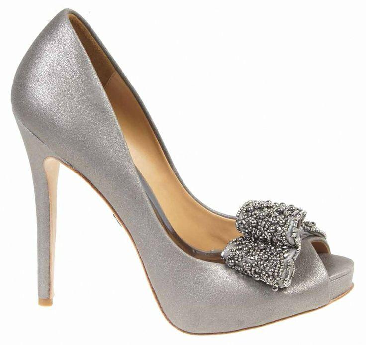 Pewter Heels For Wedding: Badgley Mischka Vonda Pewter Evening Shoes$268.00 The