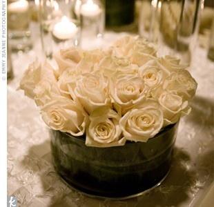 White Roses in Galvanized Bucket