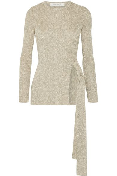 Cédric Charlier - Metallic Ribbed-knit Sweater - Beige - IT42