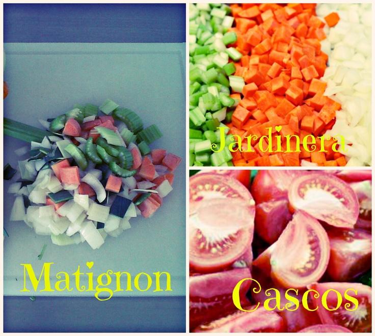 TIPOS DE CORTES:   JARDINERA: Dados de 4mm por lado, verduras para picadillo o caldos. MATIGNON: Corte grosero en pequeño. CASCOS: también llamado en gajos por su forma; corte de tomates para salsa