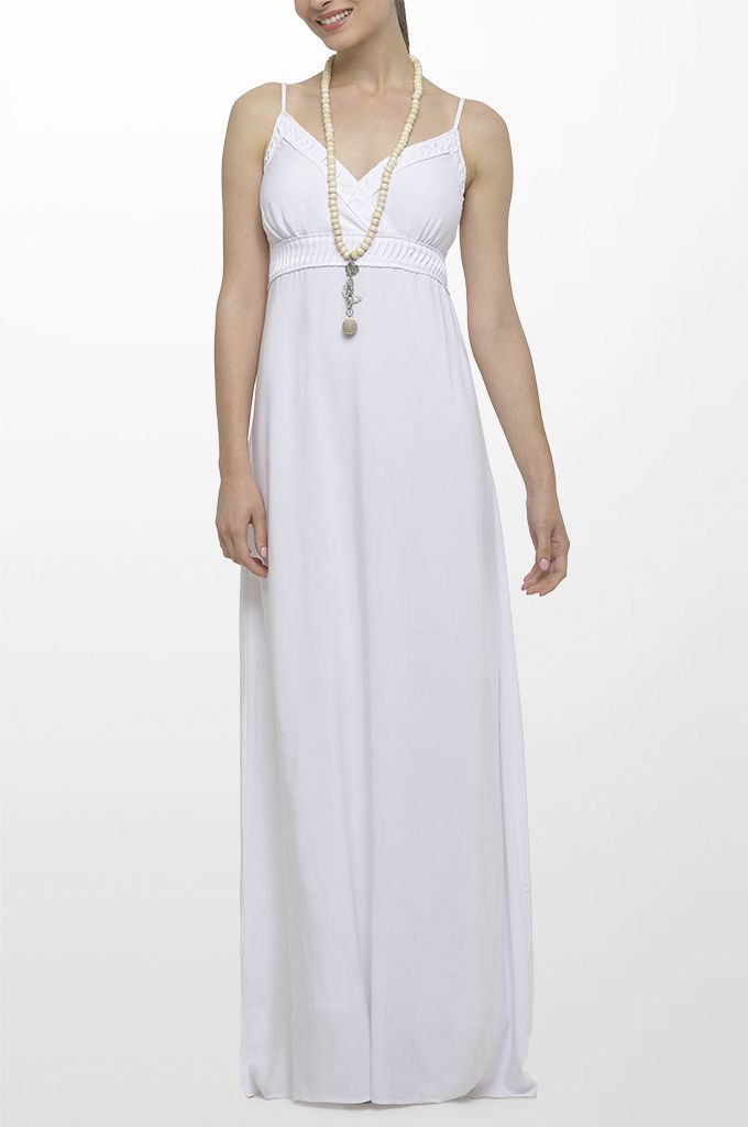 Sarah Lawrence - maxi dress, long layer necklace.