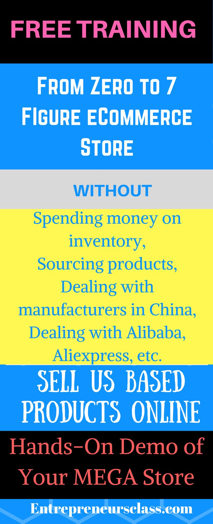 eCommerce store training.Learn how to build 7-figure a year selling US based products with over 2,000 ready to sell products without Spending money on inventory, Sourcing products, Dealing with manufacturers in China, Dealing with Alibaba, Aliexpress, etc.
