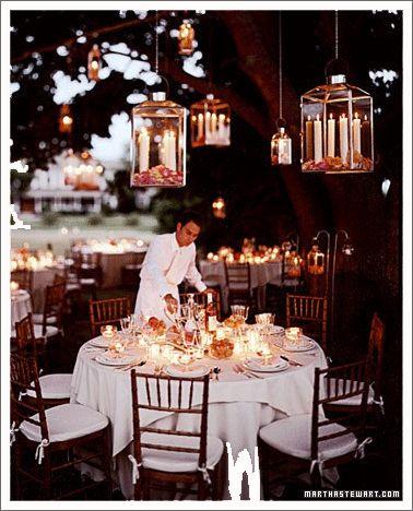 a backyard wedding with chandeliers