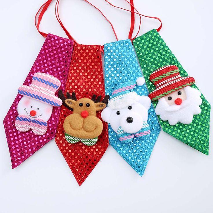 1PC Christmas Children Tie Santa Claus Snowman Reindeer Bear Tie Christmas Decoration For Home Xmas Decoration Ornaments #Affiliate