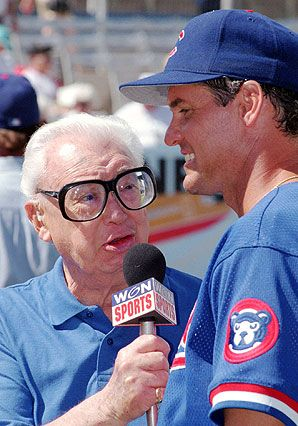 A two-for.....Harry Caray AND Ryne Sandberg!   Classic, the big glasses on Harry and Ryno's smile!!
