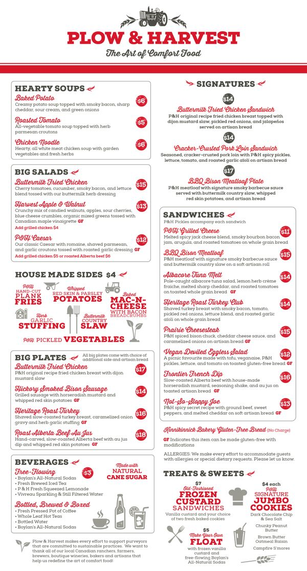 Plow & Harvest Restaurant Menu by Pam Brown {dezinegirl}, via Behance