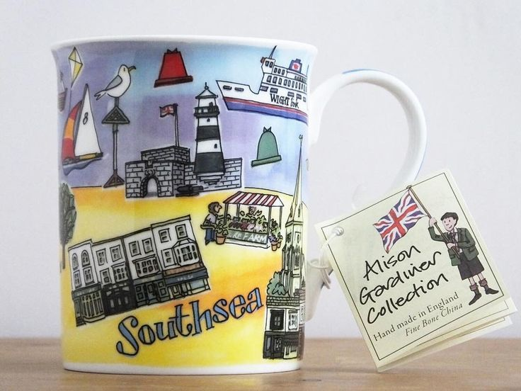 Our #Southsea mug features local landmarks, such as Southsea Castle, South Parade Pier, the King's Theatre, and even the Wightlink ferry! Perfect for the Southsea local or lover & available in our showroom at 82 Elm Grove  #portsmouth #local #southseacastle #kingstheatre #wightlink #isleofwight #southcoast #solent #hampshire #southparadepier #shoplocal #shopsmall #creativeportsmouth  #illustration #design #finebonechina #southseabeach #eastney