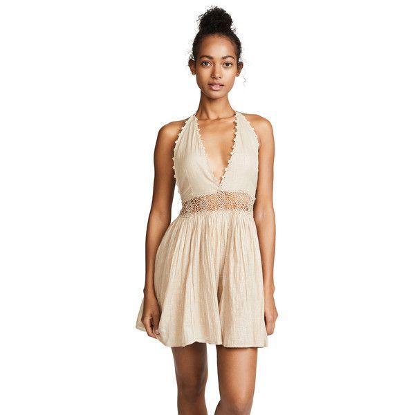 PilyQ Celeste Dress (186 AUD) ❤ liked on Polyvore featuring dresses, multi, halter-neck dresses, short halter dress, mini dress, short dresses and tassle dress
