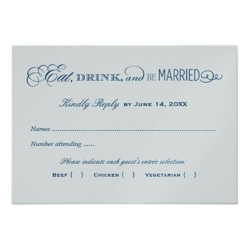 Blue Wedding Rehearsal Dinner Invitations Wedding Reply Card | Silver and Navy Blue